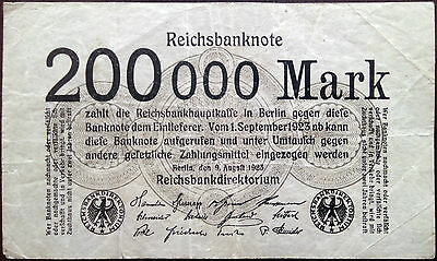 Weimar Germany banknote - 200000 mark - year 1923 - fifth series -hyperinflation