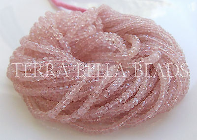 "8"" strand MORGANITE AQUAMARINE faceted gem stone rondelle beads 2mm - 4mm pink"