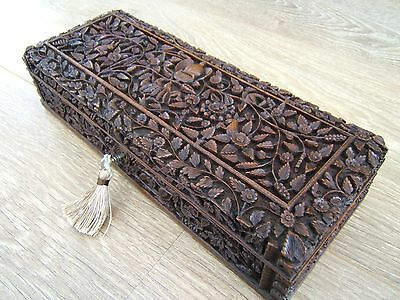 Terrific 19C Sandalwood Hand Carved Antique Jewellery Box - Fab Interior