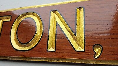 Vintage Mahogany Wilmington Delaware Gold Leafed Yacht Quarterboard