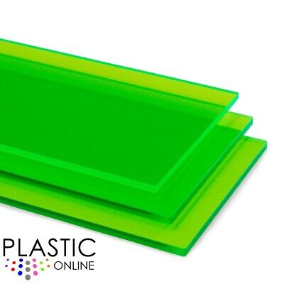 Apple Green Fluorescent Transparent Policril Perspex Acrylic Sheet Plastic Panel
