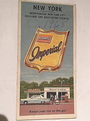 1965 ATLANTIC OIL Vintage ROAD MAP NEW YORK Rockland WestChester Counties