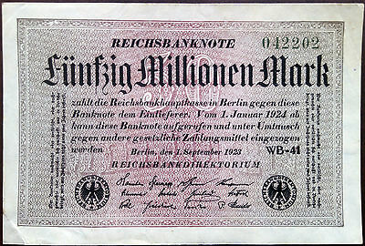 Weimar Germany banknote - 50 million mark - year 1923 - hyperinflation