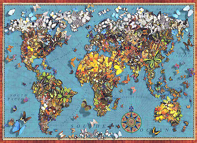 Puzzle Butterfly World Map, 1000 Teile, Schmetterling, Weltkarte, Perre Group