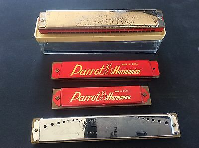 Collection 4 Vintage Harmonicas The Bandmaster Boxed 2 Parrot Blessing Harmonica