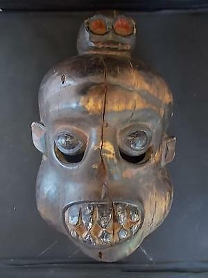 Handmade Antique Tribal Ethnographic Wooden Cannibal Mask South Pacific Islands