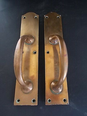 Pair of Late Victorian Large Brass Door Pull Handles Old Reclaimed Edwardian...
