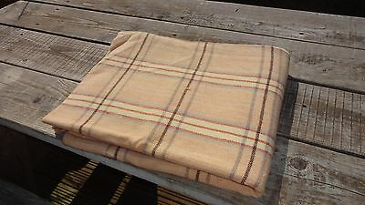 """Vintage Welsh Wool Check Blanket / Throw - Cream & Fawn 82"""" x 64"""""""