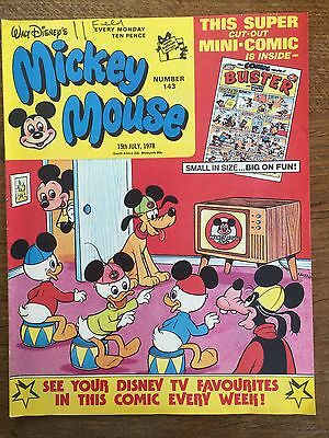 Rare Vintage No 143 Walt Disneys Mickey Mouse 15th July 1978 Comic Disneyana