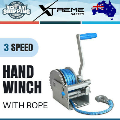2000KG 3 SPEED Boat Hand Winch Synthetic Rope CAR BOAT TRAILER 4WD With Rope