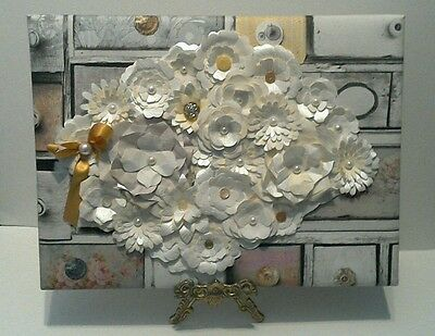 Shabby chic mixed media cream paper flowers on canvas