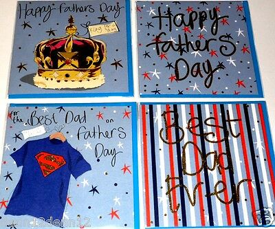 "FATHERS DAY CARDS by CLARE DAVIES, x24, JUST 27p, wrapped, 6"" square, FLITTERED"