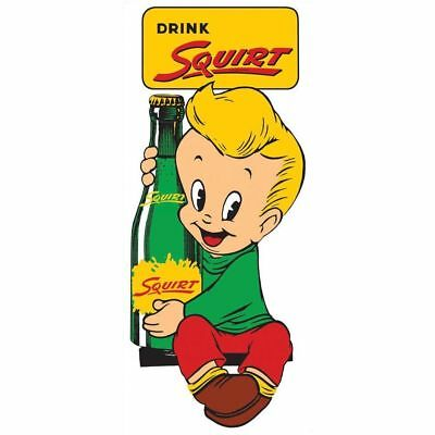 """Drink Squirt"" Heavy Embossed Metal Sign. Squirt Boy. Vintage Style  AR-2170081"