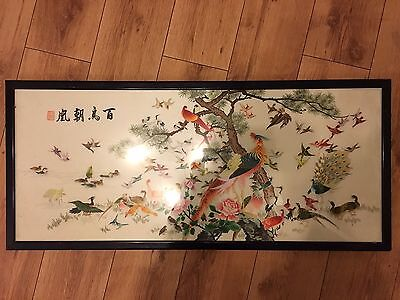 rare antique chinese silk embroidery picture with frame of 100 birds