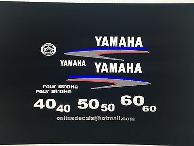 Yamaha 40 50 60 hp four stroke Outboard Decal Sticker Kit Marine vinyl