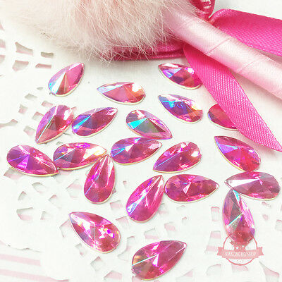 30 pcs 8x13mm Teardrop Red Pink AB  Acrylic Special Effect Rhinestons Flat Back