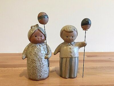 Fitz & Floyd Lisa Larson Style Ceramic Balloon Figurines Salt Pepper Boy Girl
