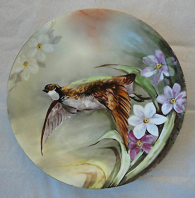 """Antique Limoges France Plate Charger Hand Painted Game Bird Signed 12""""large"""