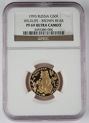 Russia 1993 1/4 Oz Gold 50 Rouble Wildlife Brown Bear Proof Coin NGC PF69 @RARE@