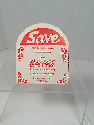 "Vintage, Coca-Cola  'SAVE', Folding Paper Coin Bank,  3.5"" x 4"" x 2"", ""Rare"""