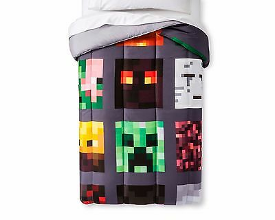 MineCraft Reversible Good vs Evil Comforter Twin with 3Pc Twin Sheet Set