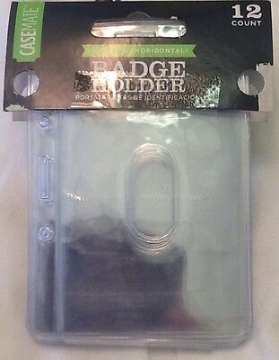 12 2-in-1 (Vertical - Horizontal) BADGE ID OFFICE CARD HOLDER CLEAR New