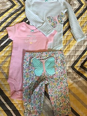Girls 3-pc Newborn Pink Love To Smile Set Clothing, Shoes & Accessories