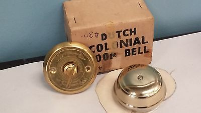 Vintage 1950's Dutch Colonial Door Bell Lacquered Brass No. 734 Concra Japan