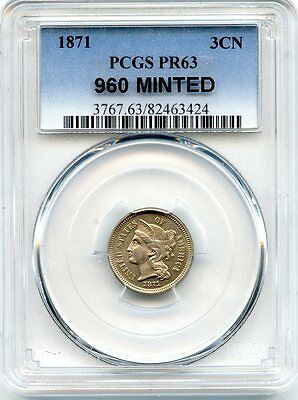 C8519- 1871 Proof Three Cent Nickel Pcgs Pr63 - 960 Minted