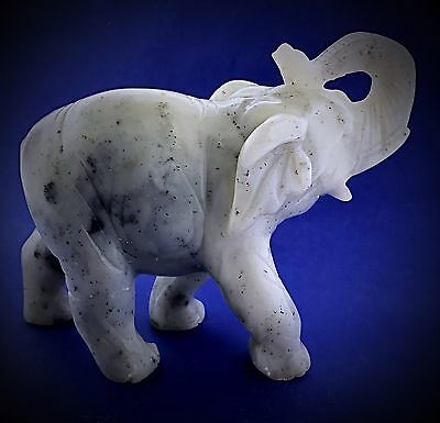 Vintage Antique White Marble Asian Elephant Trunk Up Statue Figurine Paperweight