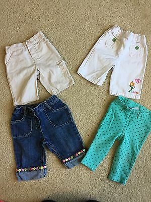 Lot Of 4 Girl Bottoms Capris And Pants Size 12-18 Months.