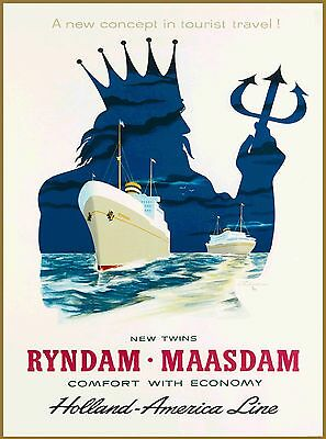 Holland - America Lines Dutch Netherlands Vintage Travel Advertisement Poster