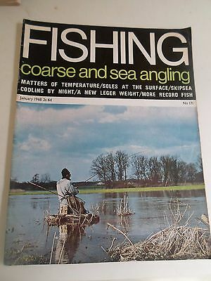 Vintage JANUARY 1968 COARSE AND SEA ANGLING + Illustrated + Advertising