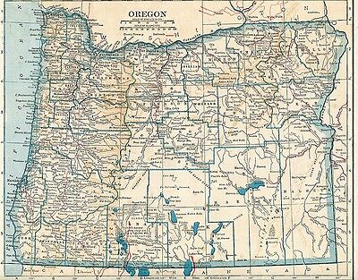 Vintage Map OREGON,1922 year