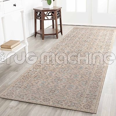 KUBA CREAM ALLOVER OVERDYED COTTON VINTAGE PERSIAN LOOK RUG RUNNER 80x300cm *NEW