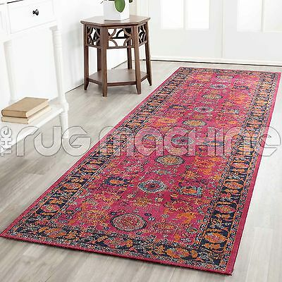 KUBA PINK CHOBI OVERDYED COTTON VINTAGE PERSIAN LOOK RUG RUNNER 80x300cm **NEW**