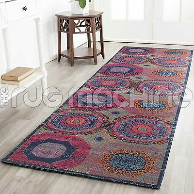 KUBA COLOURFUL OVERDYED COTTON VINTAGE PERSIAN LOOK RUG RUNNER 80x300cm NEW**
