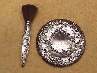 Vintage Sterling 3 Inch Pocket Mirror And Makeup Brush By Towle...sterling Set