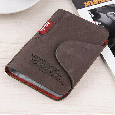 Mens Expandable Leather Credit/Business Name Card Holder And ID Flap Wallet