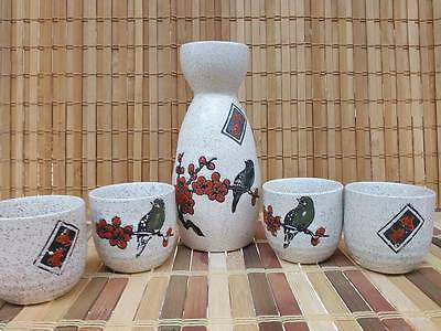 Porcelain Sake Set with 4 cups -Stone Cherry blossom with Bird- Japanese Style