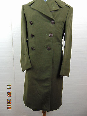 Vintage  ARMY Military Long Trench Coat Green  Wool Men's Size SDouble Breasted