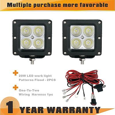 2PC 20W Cree Led Work Light Bar for Jeep ATV 4WD Off-Road Wiring Kit IP68 12/24V