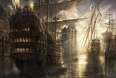 Artwork Pirates Ship Boat Oil Painting Printed On Canvas Home Art Wall Decor V