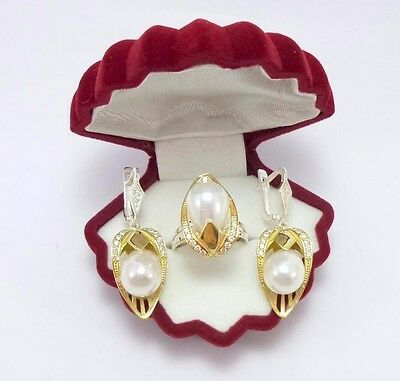 Sterling 925 Silver Handmade Jewelry Sublime Akoya White Pearl Set
