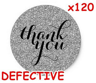 x 120 DEFECTIVE glitter THANK YOU stickers labels wedding black & silver round