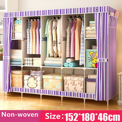 Doule Storage Closet Organizer Non woven Curtain Home Bedroom Clothes Wardrobe