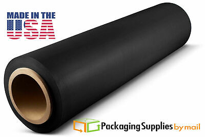"12"" x 1000' 120 Gauge Hand Stretch Wrap Cast Dark Black Film 8 Rolls Free Ship"