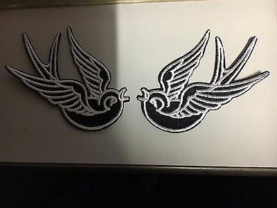 Iron On Patch - Swallows Black Pair (Small)
