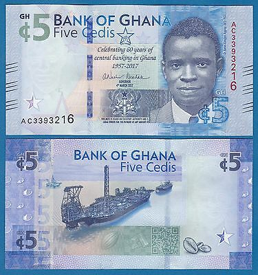 Ghana 5 Cedis P New 2017 UNC Commemorative 60th Year Low Shipping! Combine FREE!