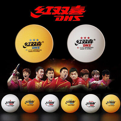Wholesale DHS 40mm Double Happiness 3-Star Table Tennis Balls PingPong Balls